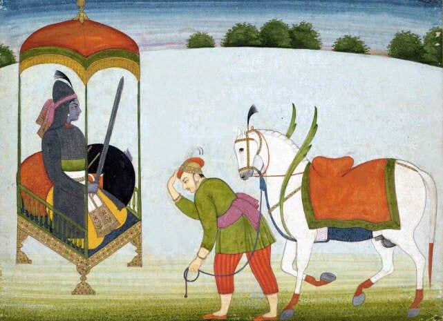 Hindulaisuudessa odotetaan Kalki Avataria saapuvaksi Kali Yugan lopulla (nykyinen aikakausi on Kali Yuga eli pimeä aikakausi). Kalki Avatar, Punjab Hills, Guler, c. 1765